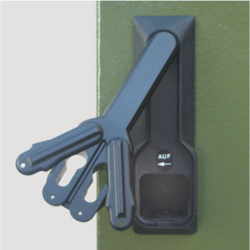 Herausschwenkbarer Aluminium-Knebel mit integriertem Durchsägeschutz, für zwei 40 mm Profilhalbzylinder (30 / 10)