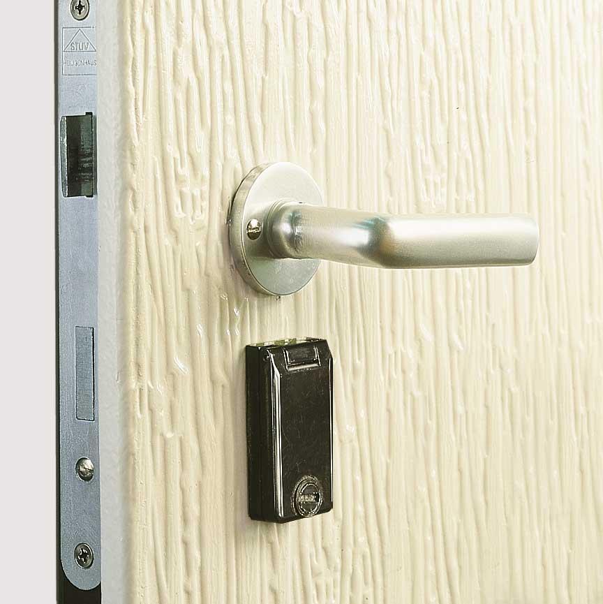 1-Punkt-Verriegelung ohne Panikfunktion, Türdrücker innen und außen, für 60 mm Profilhalbzylinder (50 / 10)