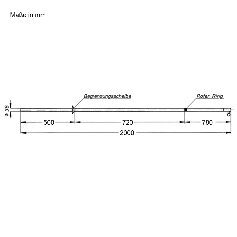 Abmessungen Schaltstangen, zweiteilig, für den Innenraum, 2000 mm
