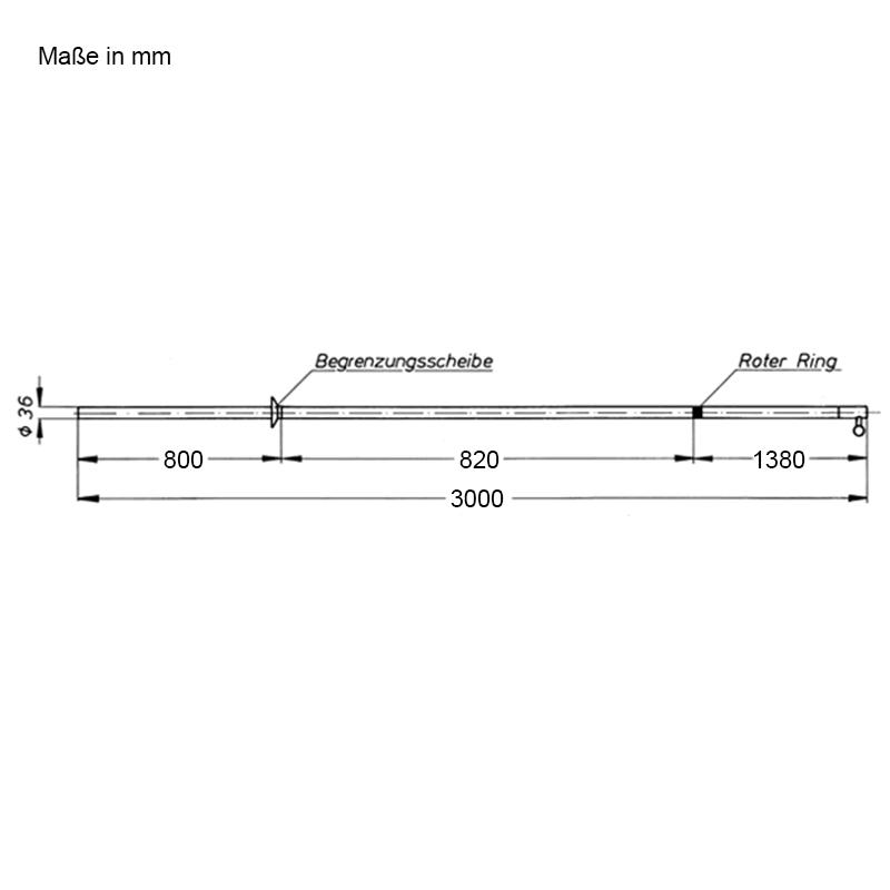 Abmessungen Schaltstangen, zweiteilig, für den Innenraum, 3000 mm