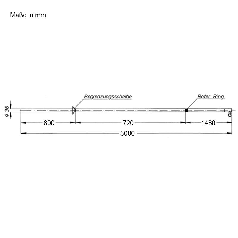 Abmessungen Schaltstangen, dreiteilig, für den Innenraum, 3000 mm
