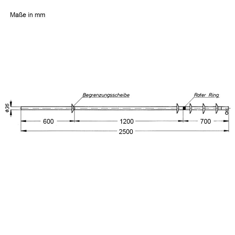 Abmessungen Schaltstangen, zweiteilig, für den Außenraum, 2500 mm